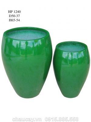 Chậu Cây Composite Hậu Phát Hình Bình Sơn Bóng   Hp-1240