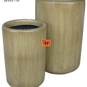 Chậu cây Composite Hậu Phát trụ tròn | HP-1734 (vân gỗ)