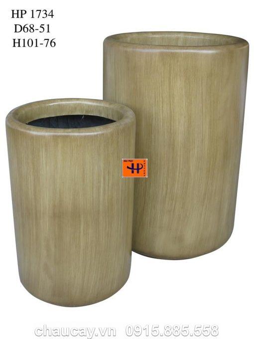 Chậu Cây Composite Hậu Phát Trụ Tròn   Hp-1734 (Vân Gỗ)