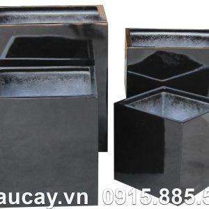 Chậu cây Composite Hậu Phát trụ vuông | HP-1156 (đen bóng)