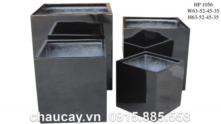 Chậu cây Composite Hậu Phát trụ vuông   HP-1156 (đen bóng)