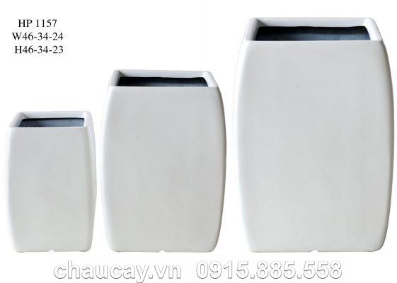Chậu cây Composite Hậu Phát vuông cao | HP-1157 (trắng mờ)