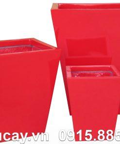 Chậu cây Composite Hậu Phát vuông vát | HP-1019 (đỏ mờ)