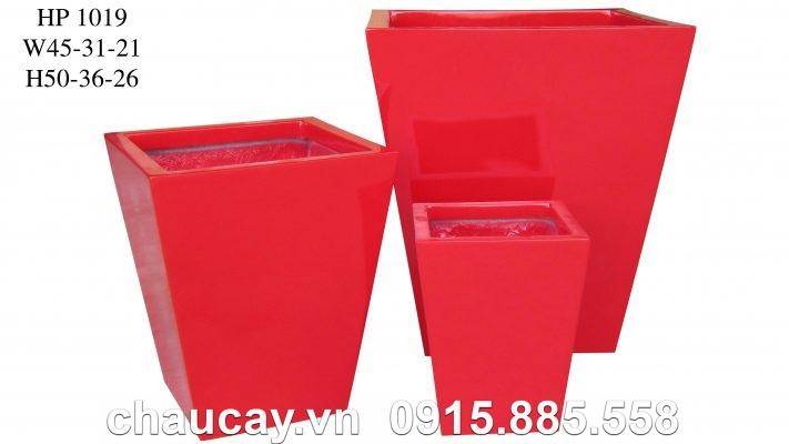 Chậu cây Composite Hậu Phát vuông vát   HP-1019 (đỏ mờ)