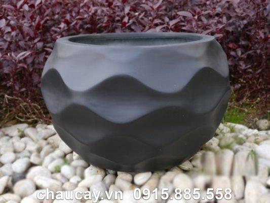 Chậu cây composite ipot tròn họa tiết đẹp | IP-00020