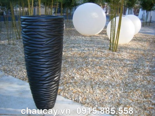 Chậu cây composite ipot trụ tròn vân nổi | IP-00013