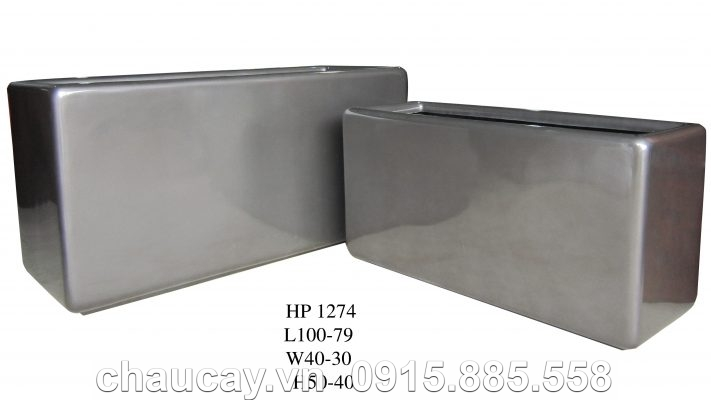 Chậu Composite Hậu Phát cao cấp xám bóng   HP-1274