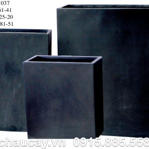 Chậu Composite Hậu Phát chữ nhật cao | HP-1037 (đen mờ)