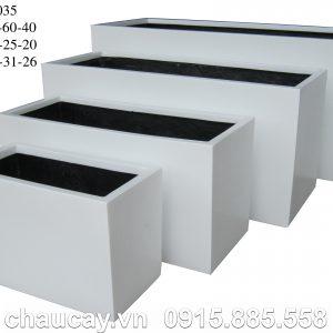 Chậu Composite Hậu Phát chữ nhật dài trắng | HP-1035