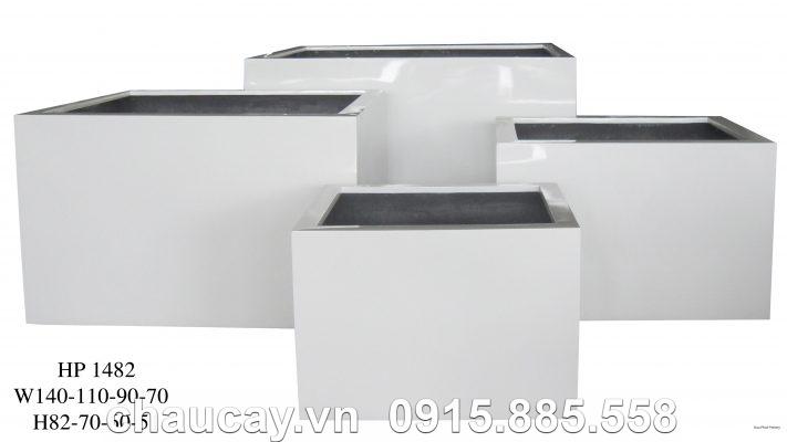 Chậu Composite Hậu Phát vuông trắng bóng | HP-1482