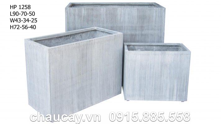 Chậu Composite Hậu Phát chữ nhật xám cao cấp | HP-1258