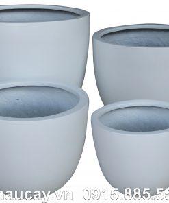 Chậu Composite Hậu Phát egg cao cấp | HP-1084 (trắng mờ)