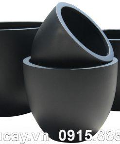 Chậu Composite Hậu Phát egg cao cấp | HP-1177 (đen mờ)