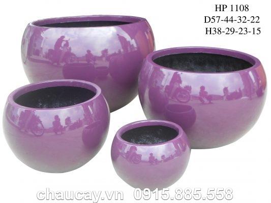 Chậu Composite Hậu Phát tròn sơn bóng cao cấp   HP-1108