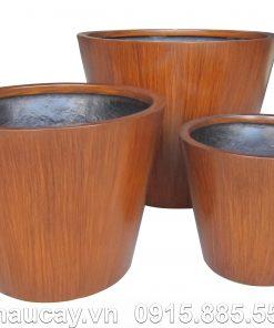 Chậu Composite Hậu Phát tròn vát đáy vân gỗ | HP-1149