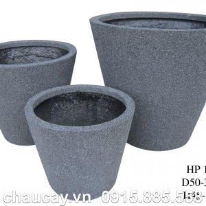 Chậu Composite Hậu Phát tròn vát đáy vân gỗ   HP-1149