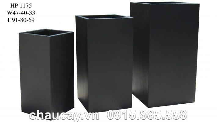 Chậu Composite Hậu Phát trụ vuông | HP-1175 (đen mờ)