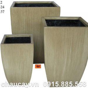 Chậu Composite Hậu Phát trụ vuông vát đáy | HP-1022 (vân gỗ)