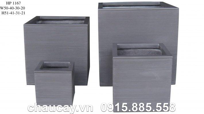 Chậu Composite Hậu Phát vuông cao cấp   HP-1167 (xám)