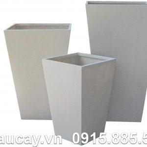 Chậu Composite Hậu Phát vuông cao vát đáy | HP-1004 (xám mờ)