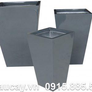 Chậu Composite Hậu Phát vuông cao vát đáy   HP-1009 (xám bóng)