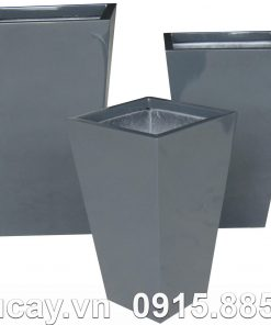 Chậu Composite Hậu Phát vuông cao vát đáy | HP-1009 (xám bóng)
