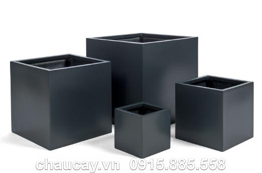 Chậu nhựa Composite Hậu Phát vuông sơn bóng | HP-1055