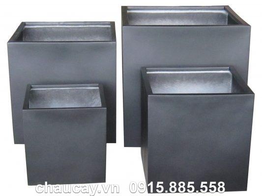 Chậu Composite Hậu Phát vuông sơn bóng | HP-1055