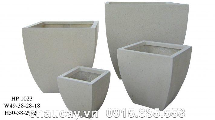 Chậu Composite Hậu Phát vuông thấp vát đáy | HP-1023