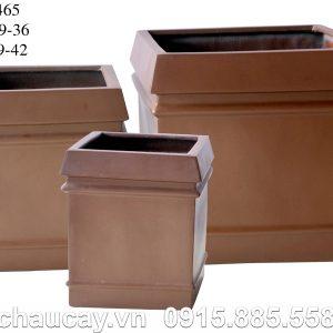 Chậu Composite Hậu Phát vuông vân nổi | HP-1465 (nâu cafe)
