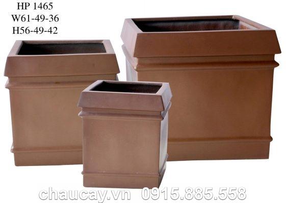 Chậu Composite Hậu Phát vuông vân nổi   HP-1465 (nâu cafe)