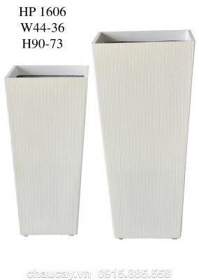Chậu Composite Hậu Phát vuông vát đáy | HP-1606 (trắng mờ)