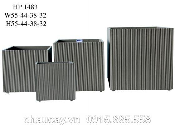 Chậu Composite Hậu Phát vuông xọc dọc | HP-1483