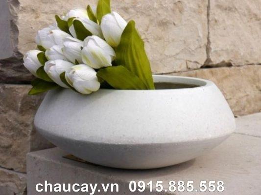 Chậu Hoa Composite Ipot Tròn Tinh Tế   Ip-00023