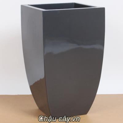 Chậu nhựa composite anber vuông cách điệu 1021