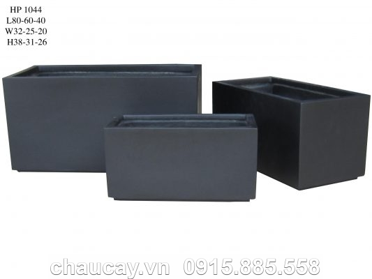 Chậu nhựa Composite Hậu Phát chữ nhật dài xám mờ | HP-1044