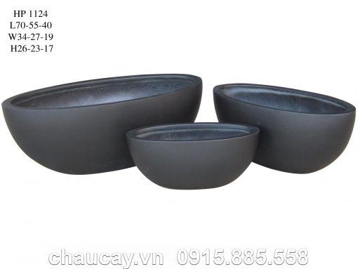 Chậu Nhựa Composite Hậu Phát Oval Cao Cấp | Hp-1124