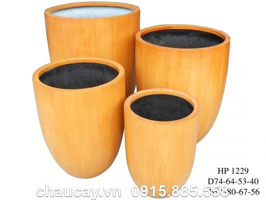 Chậu nhựa Composite Hậu Phát tròn   HP-1229 (vân gỗ)
