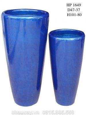 Chậu nhựa Composite Hậu Phát trụ tròn | HP-1649 (xanh dương)