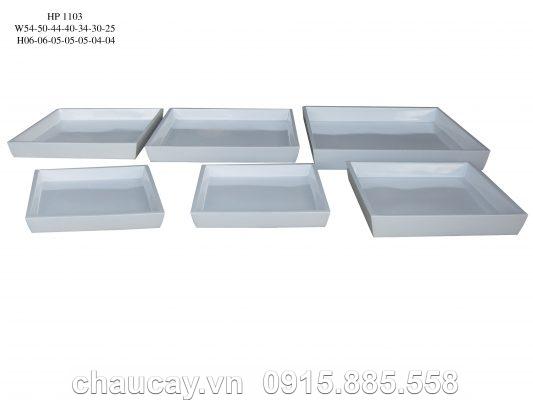Chậu Nhựa Composite Hậu Phát Vuông Trắng | Hp-1103