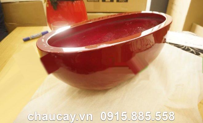 Chậu nhựa composite ipot oval cao cấp | IP-00024
