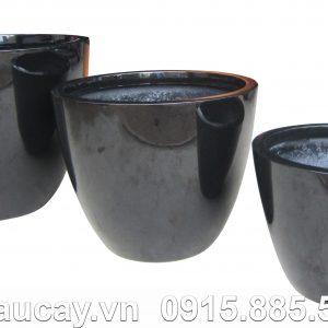 Chậu trồng cây Composite Hậu Phát egg | HP-1153 (đen bóng)