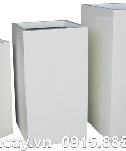 Chậu trồng cây Composite Hậu Phát trụ vuông | HP-1050 (trắng mờ)