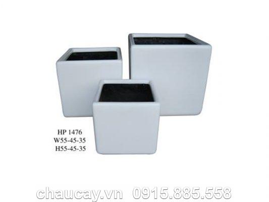 Chậu trồng cây Composite Hậu Phát vuông thấp   HP-1476 (trắng mờ)