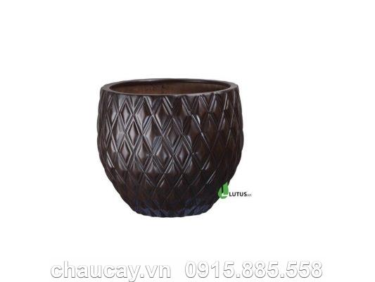 Chậu Cây Cảnh Composite Tròn Vân Quả Trám - 11442