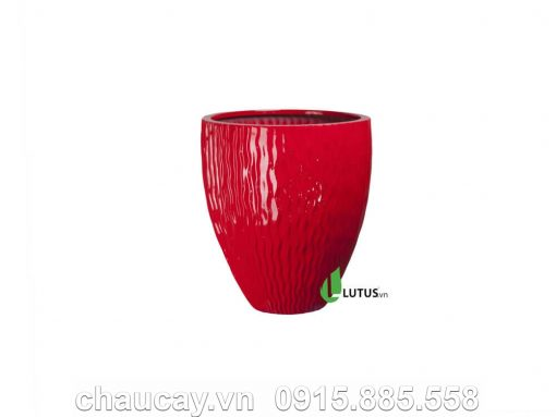 Chậu Composite Tròn Cao Họa Tiết - 11181