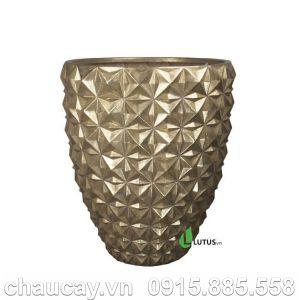 Chậu nhựa composite tròn dát vàng - 11513