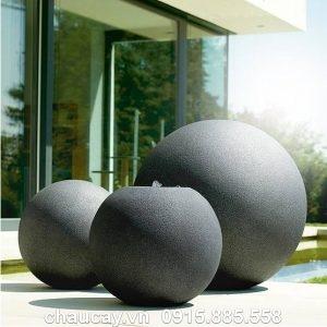 Thác nước composite nội thất mini đá đen tròn