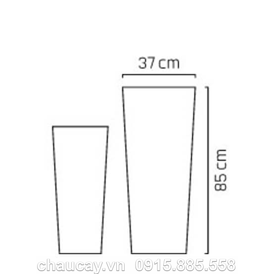 Bình hoa composite cao cấp trụ vuông vát