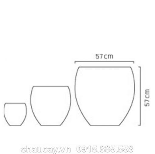 Bình Hoa Composite Cây Cảnh Màu Đá Đen